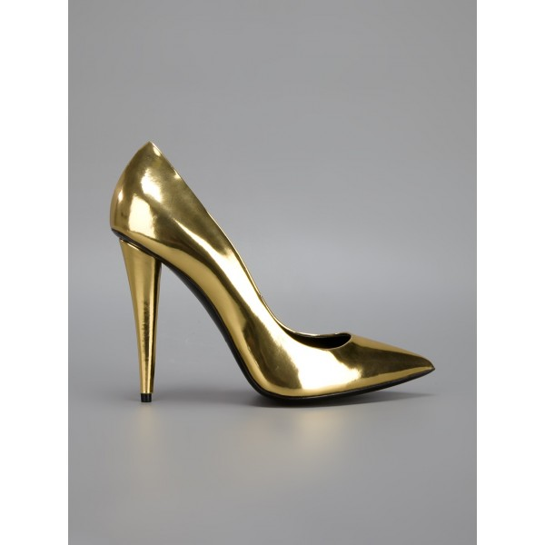 Gold Metallic Heels Pointy Toe Cone Heel Pumps for Party image 3