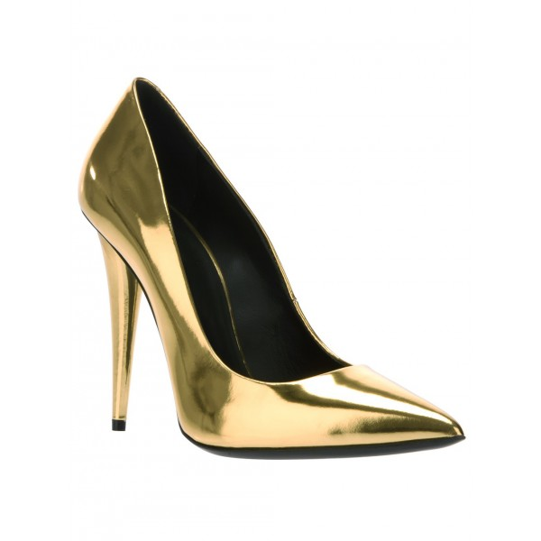 Gold Metallic Heels Pointy Toe Cone Heel Pumps for Party image 4