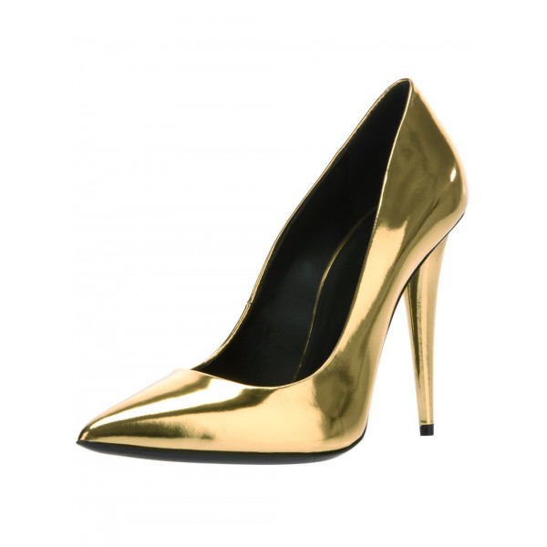 Gold Metallic Heels Pointy Toe Cone Heel Pumps for Party image 1