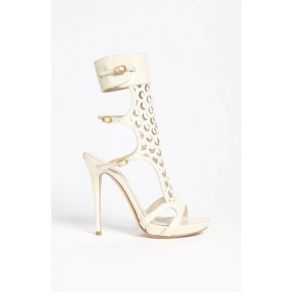 Ivory Heels Hollow out Mesh Open Toe Slingback Sandals image 5