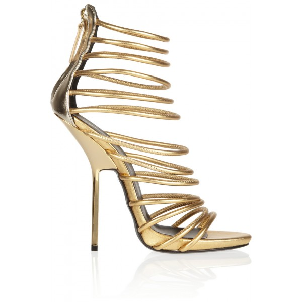 Gold Strappy Sandals Open Toe Luxury High Heels image 3