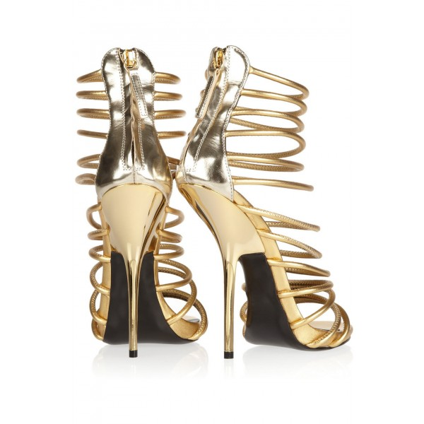 Gold Strappy Sandals Open Toe Luxury High Heels image 4