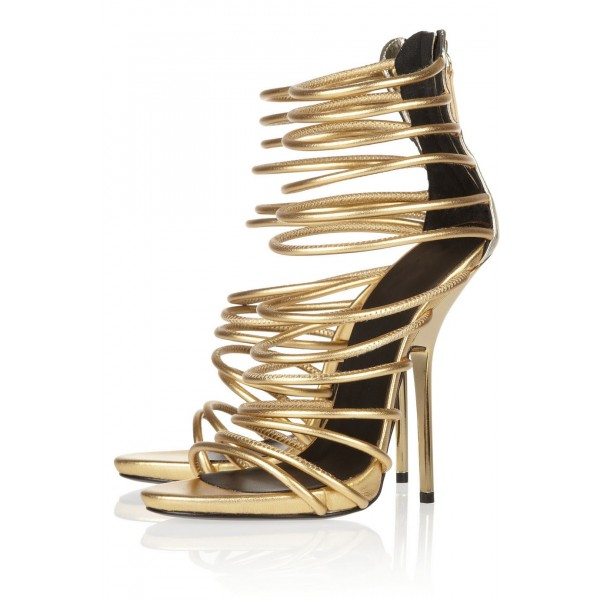 Gold Strappy Sandals High Heels Shoes Size US 4-15 for Party, Ball ...