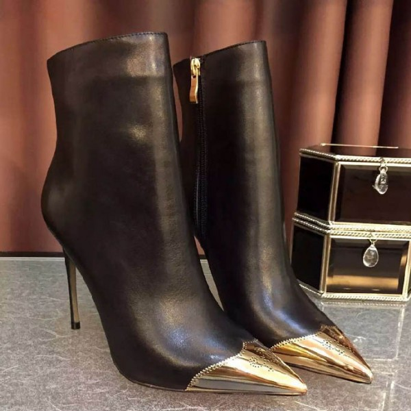 Black and Gold Wingtip Boots Pointy Toe Stiletto Heel Ankle Boots image 2
