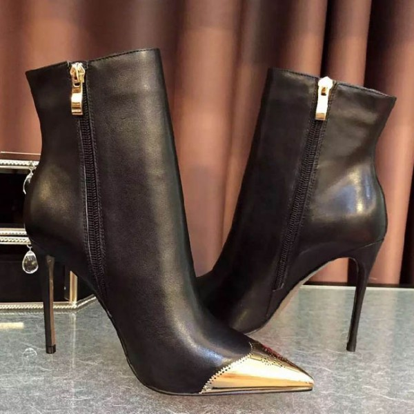 Black and Gold Wingtip Boots Pointy Toe Stiletto Heel Ankle Boots image 3