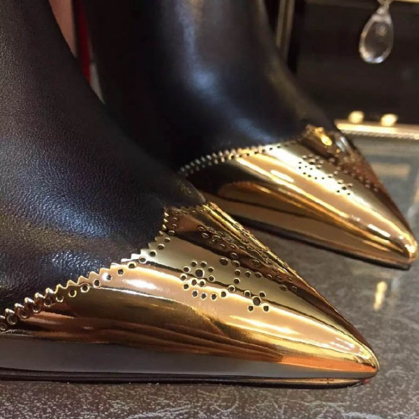 Black and Gold Wingtip Boots Pointy Toe Stiletto Heel Ankle Boots image 4