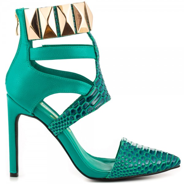 Women's Green Strappy with Metal Hollow Out Ankle Strap Sandals image 2