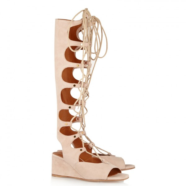 Beige Gladiator Sandals Lace up Strappy Suede Wedge Heels image 2