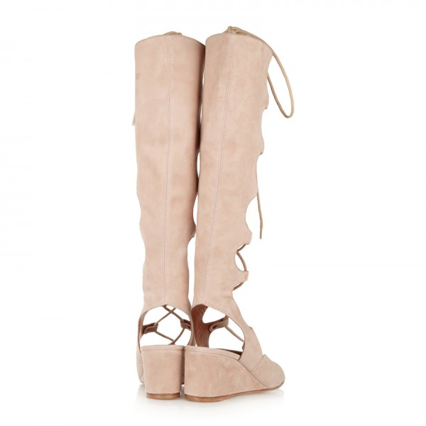 Beige Gladiator Sandals Lace up Strappy Suede Wedge Heels image 4
