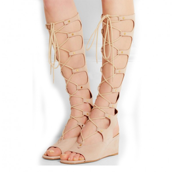 Beige Gladiator Sandals Lace up Strappy Suede Wedge Heels image 1