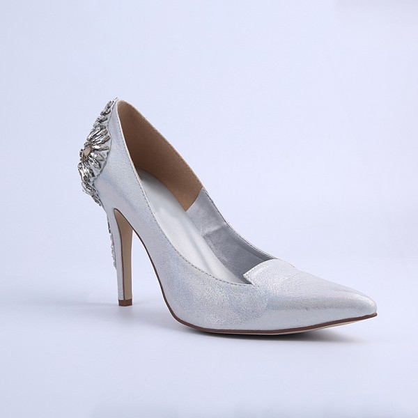 Women's Silver Bridal Heels Rhinstone Stiletto Heel Pumps image 2