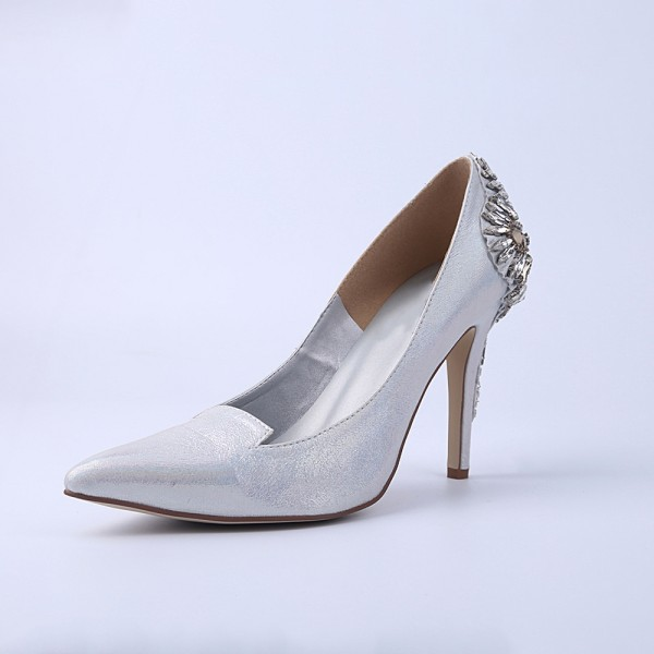 Women's Silver Bridal Heels Rhinstone Stiletto Heel Pumps image 1