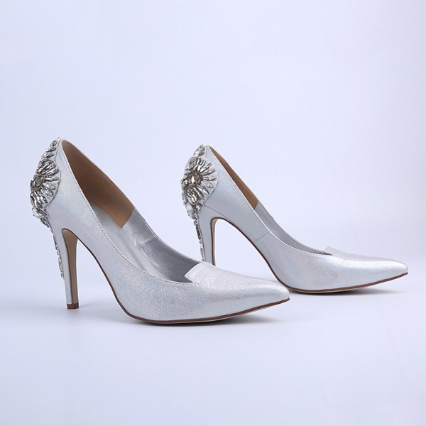 Women's Silver Bridal Heels Rhinstone Stiletto Heel Pumps image 3