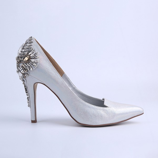 Women's Silver Bridal Heels Rhinstone Stiletto Heel Pumps image 4