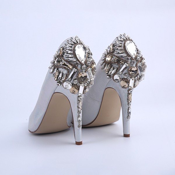 Women's Silver Bridal Heels Rhinstone Stiletto Heel Pumps image 5