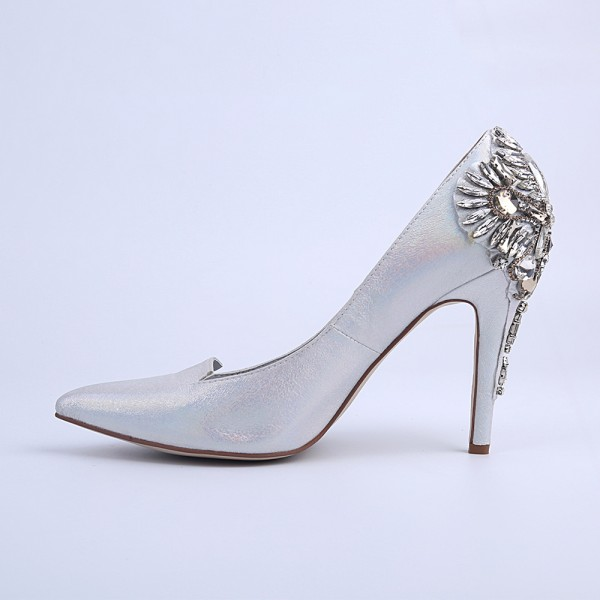 Women's Silver Bridal Heels Rhinstone Stiletto Heel Pumps image 6