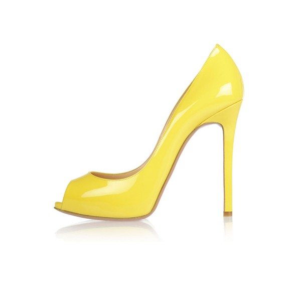 Yellow Peep Toe Heels Patent Leather Stiletto Heels Pumps by FSJ image 3