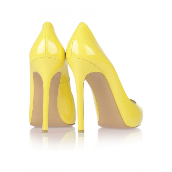 Yellow Peep Toe Heels Patent Leather Stiletto Heels Pumps by FSJ image 4