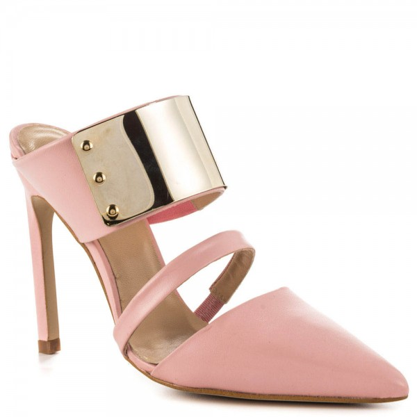 Pink 3 Inch Heels Mules Closed Toe Sandals with Metal Embellishement image 2