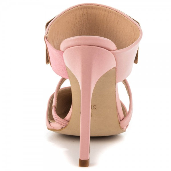 Pink 3 Inch Heels Mules Closed Toe Sandals with Metal Embellishement image 3