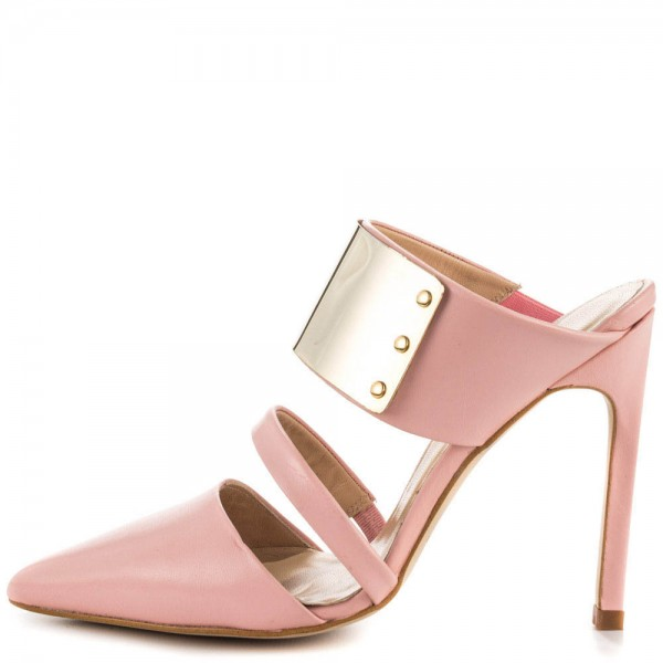 Pink 3 Inch Heels Mules Closed Toe Sandals with Metal Embellishement image 5