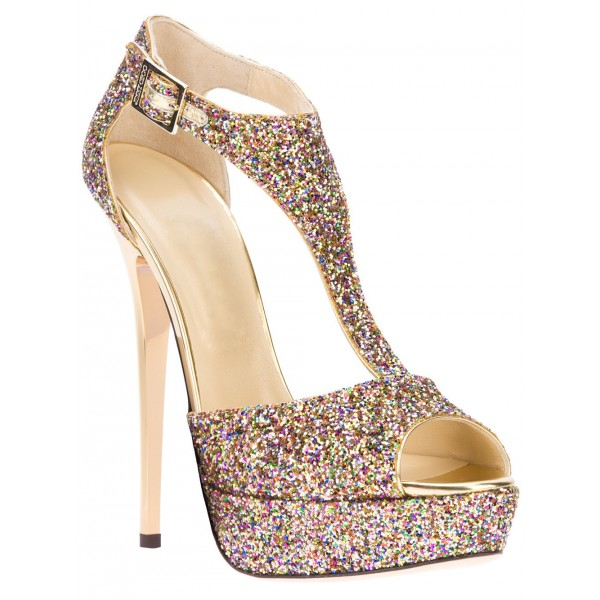 Sparkly Wedding Sandals T-strap Glitter Platform Stiletto Heels  image 2
