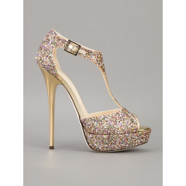 Sparkly Wedding Sandals T-strap Glitter Platform Stiletto Heels  image 4