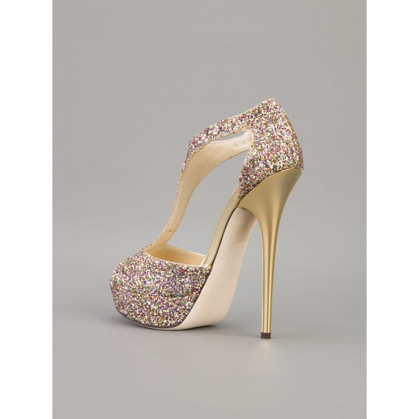 Sparkly Wedding Sandals T-strap Glitter Platform Stiletto Heels  image 5