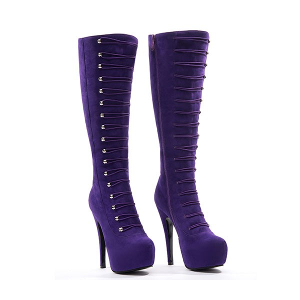 Purple Suede Fashion Boots Agraffe Platform High Heel Sexy Knee Boots image 2