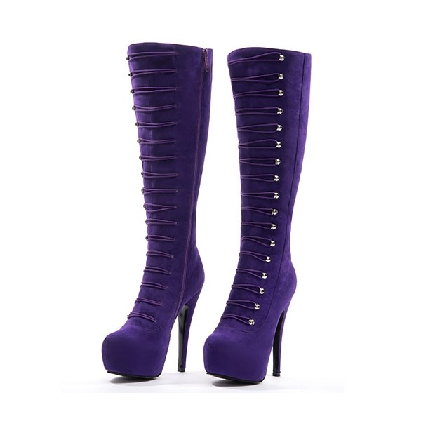 Purple Suede Fashion Boots Agraffe Platform High Heel Sexy Knee Boots image 1