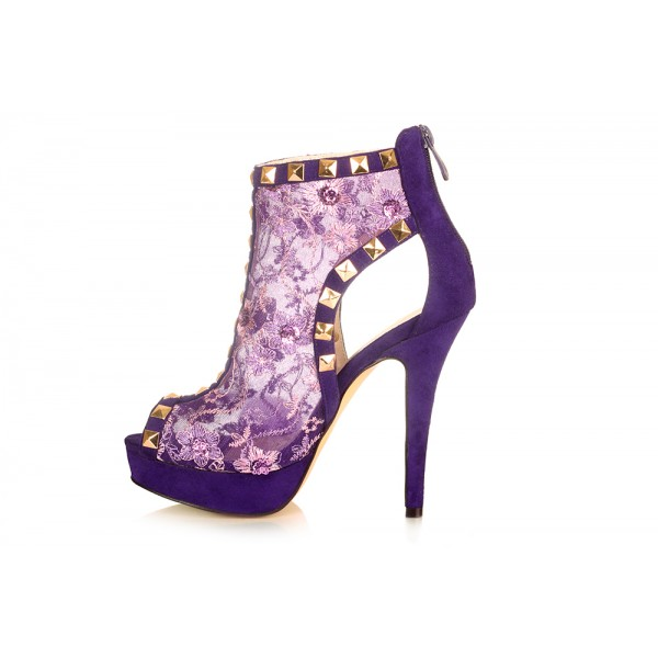 Purple Peep Toe Lace Heels Platform Ankle Boots with Rock Studs image 4