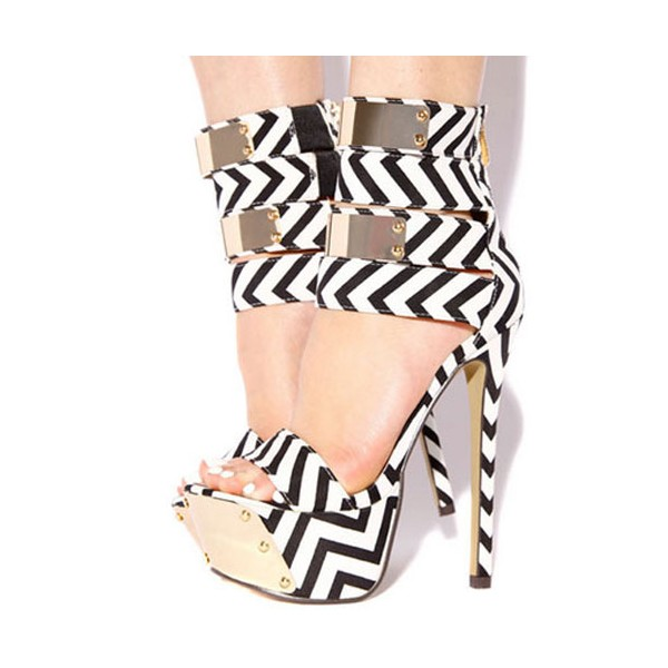 Black and White Heels Platform Sandals Stiletto Heels Stripper Shoes image 1