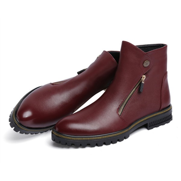 Burgundy Zipper Details Motorcycle Boots Round Toe Flat Ankle Boots image 5