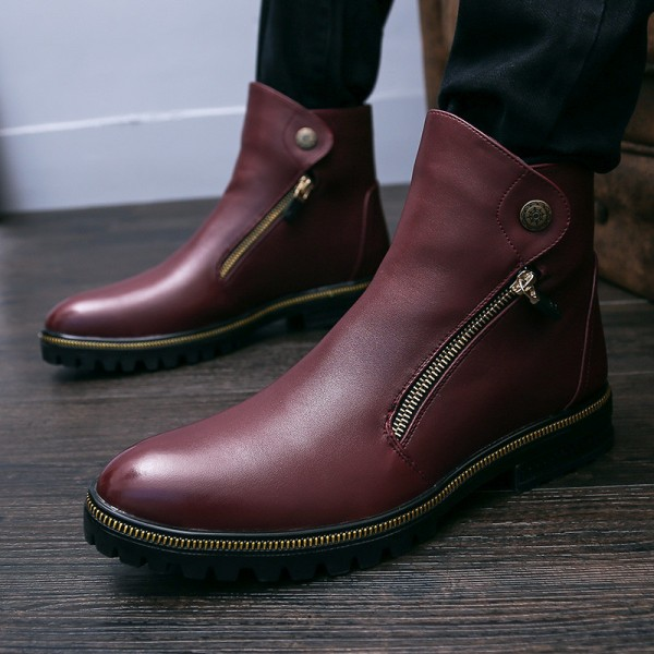Burgundy Metal Ornament Ankle Boots image 6