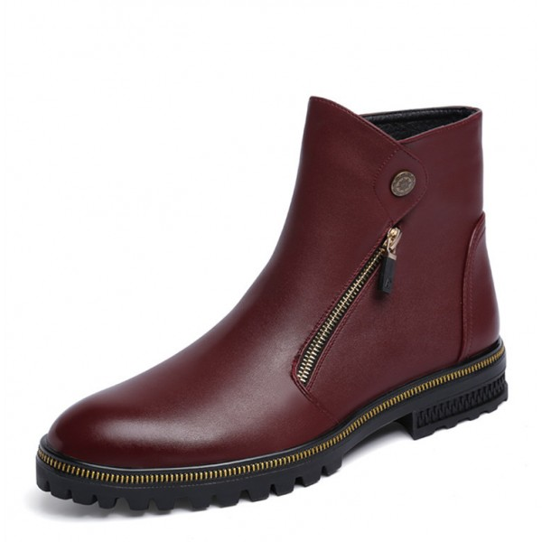 Burgundy Zipper Details Motorcycle Boots Round Toe Flat Ankle Boots image 4
