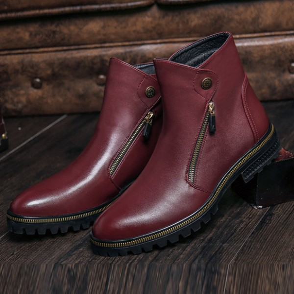 Burgundy Metal Ornament Ankle Boots image 2