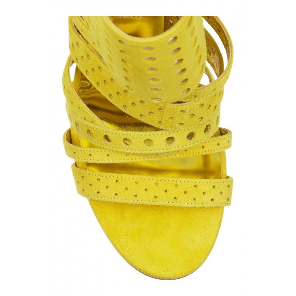 Yellow Sandals 4 Inch Heels Stiletto Heels Hollow-out Summer Sandals image 2
