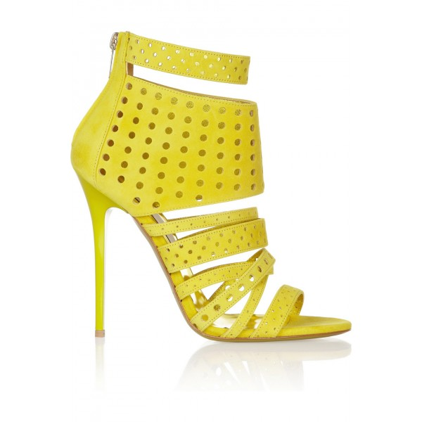 Yellow Sandals 4 Inch Heels Stiletto Heels Hollow-out Summer Sandals image 3