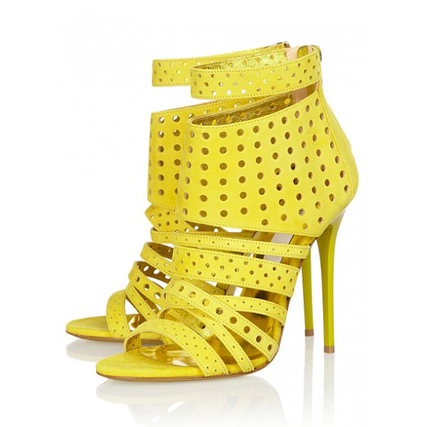 Yellow Stiletto Heels Hollow out Open Toe Strappy Sandals image 1