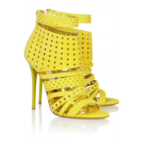 Yellow Sandals 4 Inch Heels Stiletto Heels Hollow-out Summer Sandals image 4