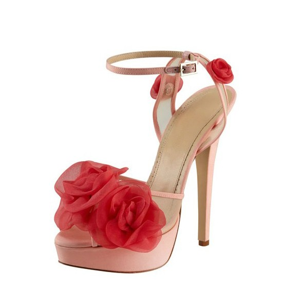 Women's  Pink and Red Floral Peep Toe Ankle Strap Sandals image 1