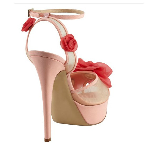Women's  Pink and Red Floral Peep Toe Ankle Strap Sandals image 2
