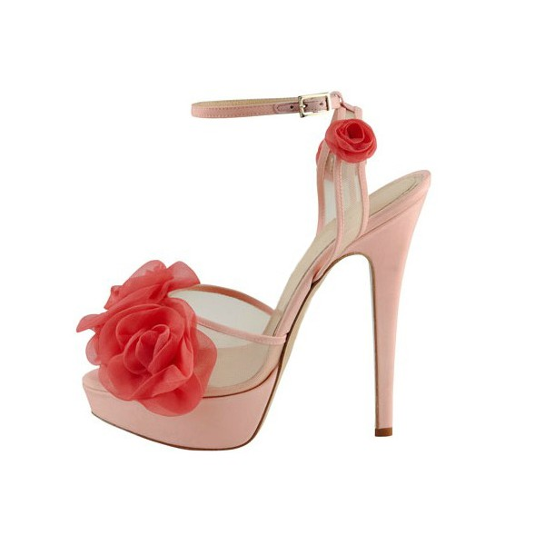 Women's  Pink and Red Floral Peep Toe Ankle Strap Sandals image 4