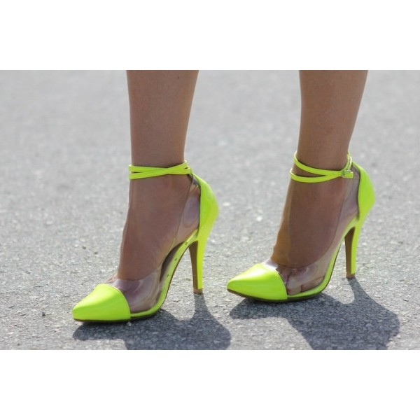 Fluorescence Clear Heels Ankle Strap Stiletto Heel Pumps image 2