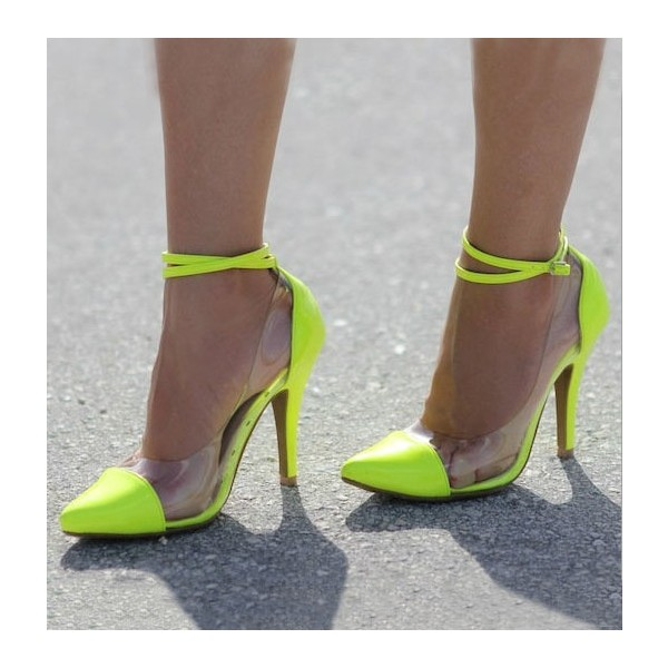 Fluorescence Clear Heels Ankle Strap Stiletto Heel Pumps image 1