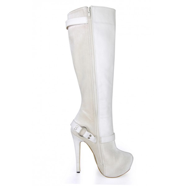 Lillian White Buckle Boots image 4