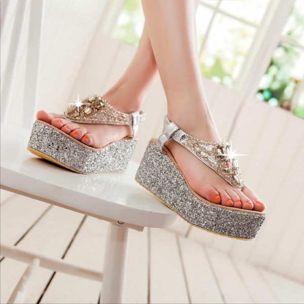 Women's Silver Glitter Wedge Sandals image 3