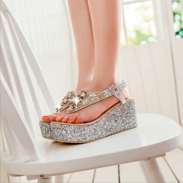Women's Silver Glitter Wedge Sandals image 4