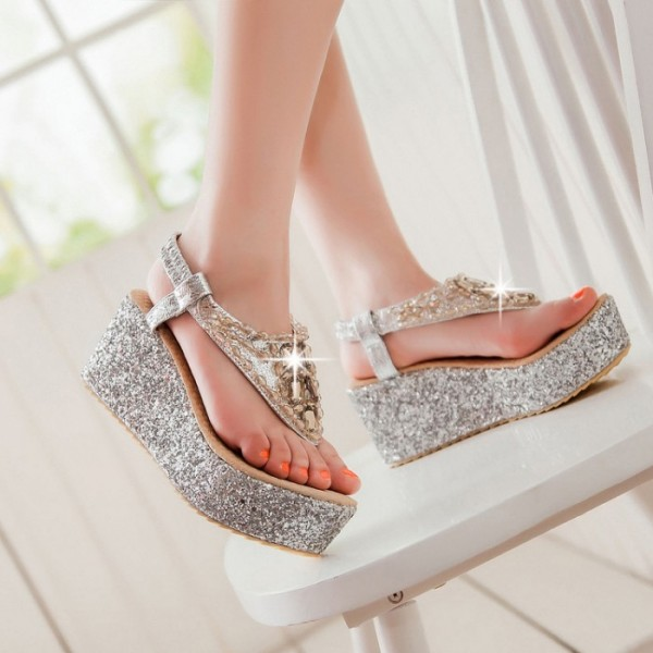 Women's Silver Glitter Wedge Sandals image 2