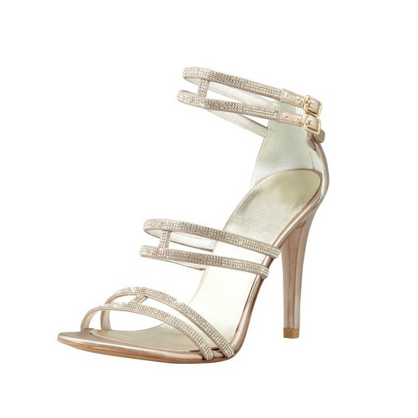 Champagne Wedding Sandals Rhinestone Open Toe Bridal Heels image 1